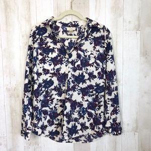 LOFT Ann Taylor Purple Cotton Floral Button Down